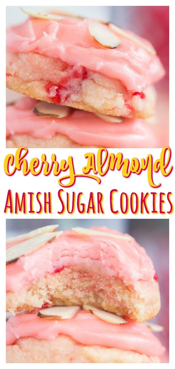 Soft, puffy, melt-in-your-mouth sugar cookies, with touches of vanilla, cherry, and almond, and a thick cherry-almond icing! These Cherry Almond Amish Sugar Cookies are guaranteed to be a smash hit for the holidays. Cherry Almond Amish Sugar Cookies are simple to make, foolproof, and a batch goes a long way!