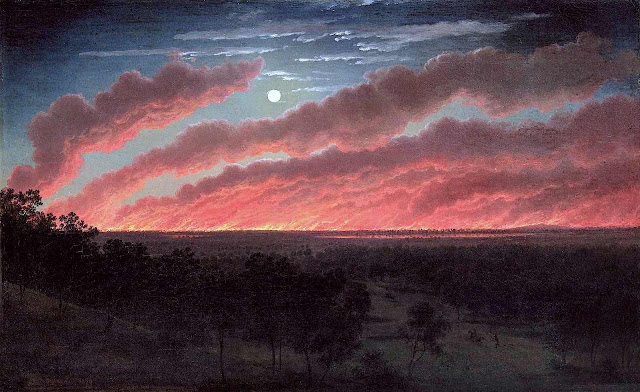 Eugen von Guerard 1857 painting of a prairie fire at night