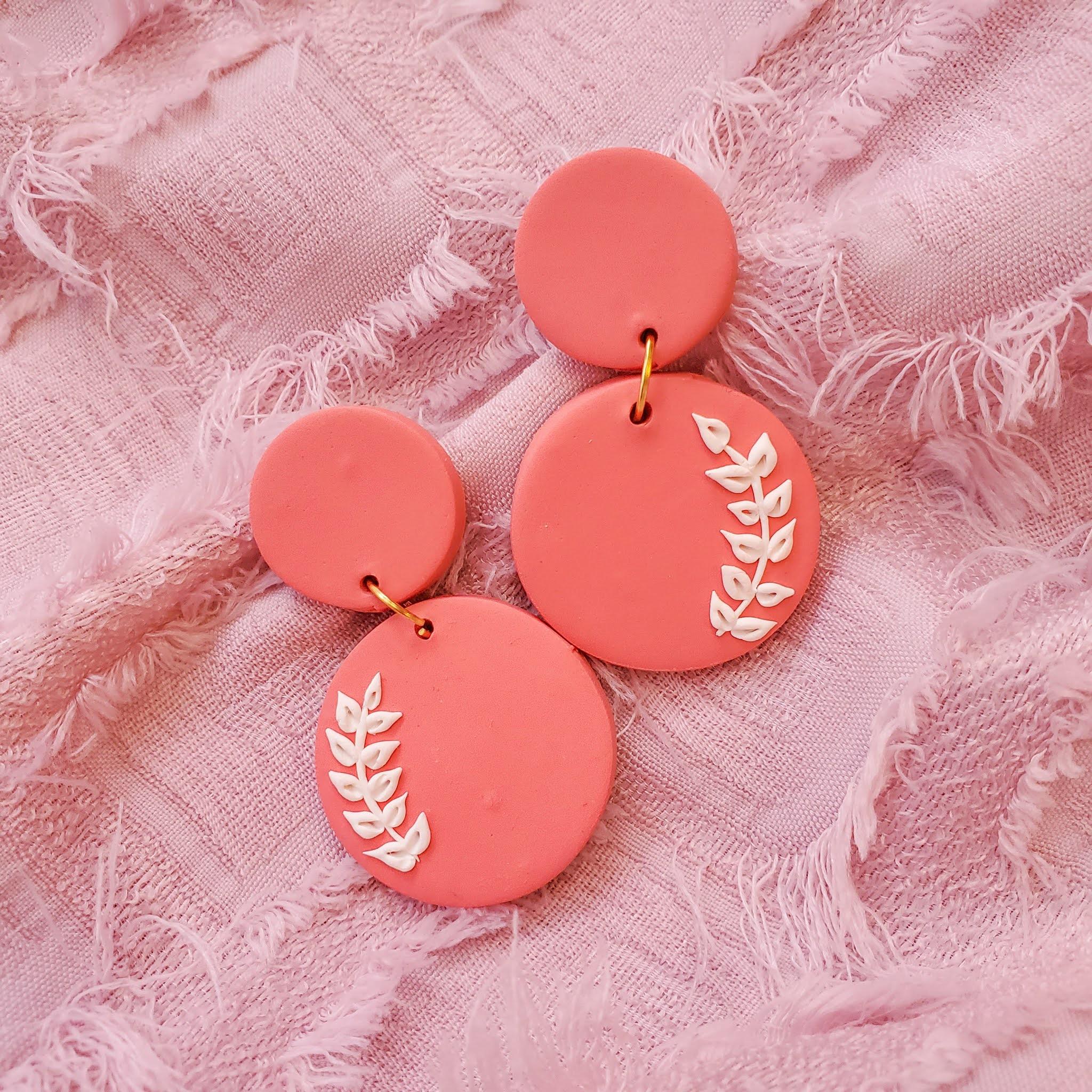 Handmade polymer clay statement earrings