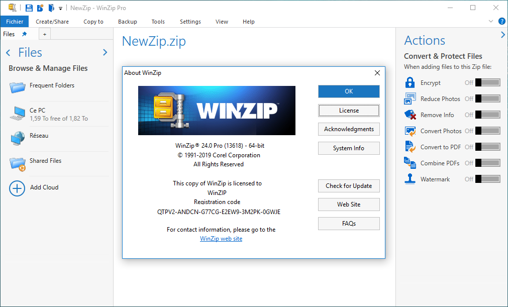 أفضل برنامج لإنشاء ملفات الأرشيف وتحريرها وإدارتها وحمايتها ومشاركتها WinZip Pro 24.0 Build 13618