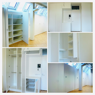 A collage of white built-in cupboards