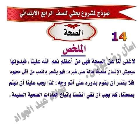 مشروع بحث عن الصحه للصف الرابع لميس نجلاء عبد الجواد 14