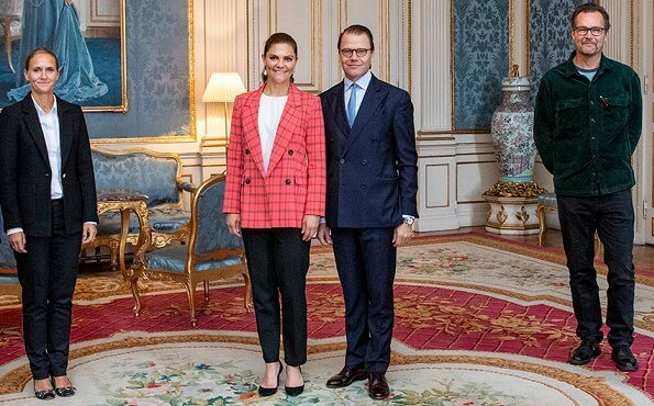Crown Princess Victoria wore a flora pink-coral blazer from By Malina, and black trousers from HM