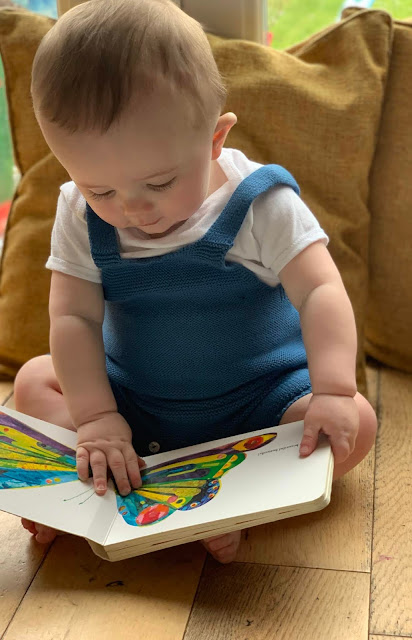 Baby sitting upright and looking at an illustration of a butterfly