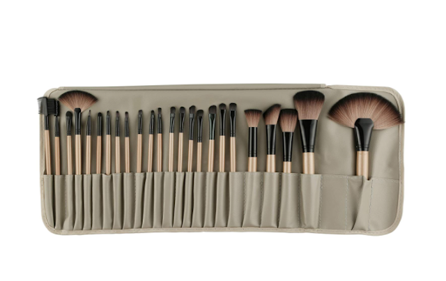 ROZIA 24pcs Makeup Brush Set, 24 Professional Makeup Brushes Kit Wooden Handle with Leather Pouch, Brown