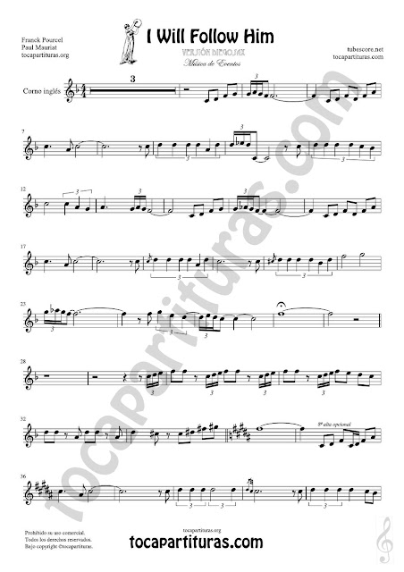 Hoja 1 de 2  Corno Inglés Partitura de Yo le seguiré (I will follow him) en Mi bemol Sheet Music for English Horn Music Scores