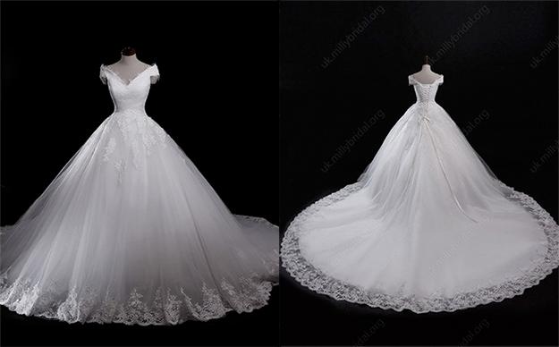 tulle v-ncek ball gown wedding dress