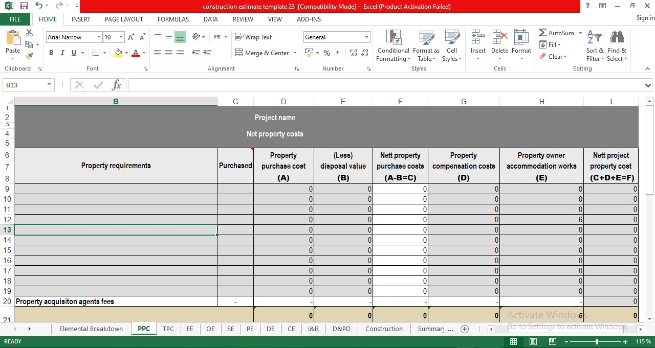 Download Free Construction Project Cost Estimate Template Excel