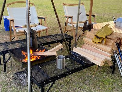 渚園キャンプ場 焚火