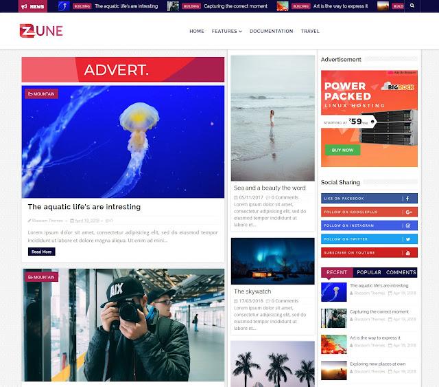 Download Premium Theme Blossomtheme Zune Blogger Blogspot Template Gratis