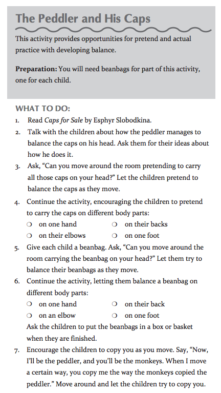 This is an example lesson from Move to Learn. It describes how you can add movement to a reading of the story, The Peddler and His Caps. This is part of a book review by Grade ONEderful.com