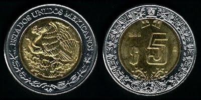Mexico  5 Pesos (1996+) Coin