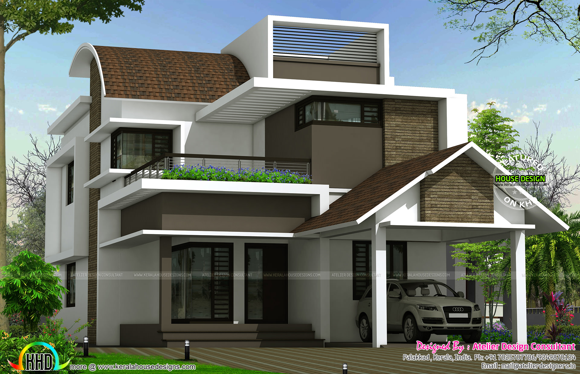 Curved roof mix contemporary 2620 sq ft home kerala home for Curved roof house plans