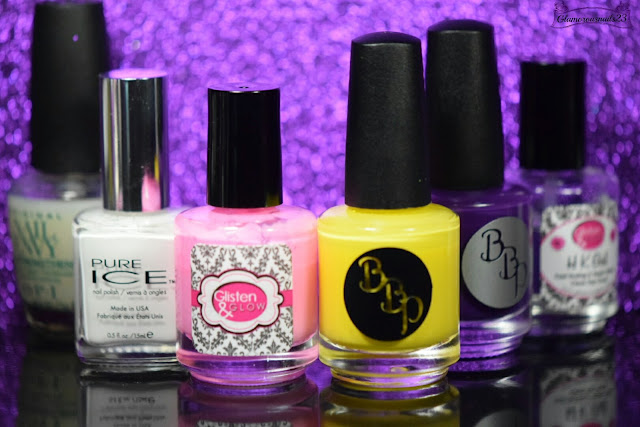 O.P.I Original Nail Envy, Pure Ice Superstar!, Glisten & Glow HK Girl CTRL+ALT+DEL, Bad Bitch Polish In The Summertime, Bad Bitch Polish Piss Off Papyrus, Glisten & Glow HK Girl Fast Drying Top Coat