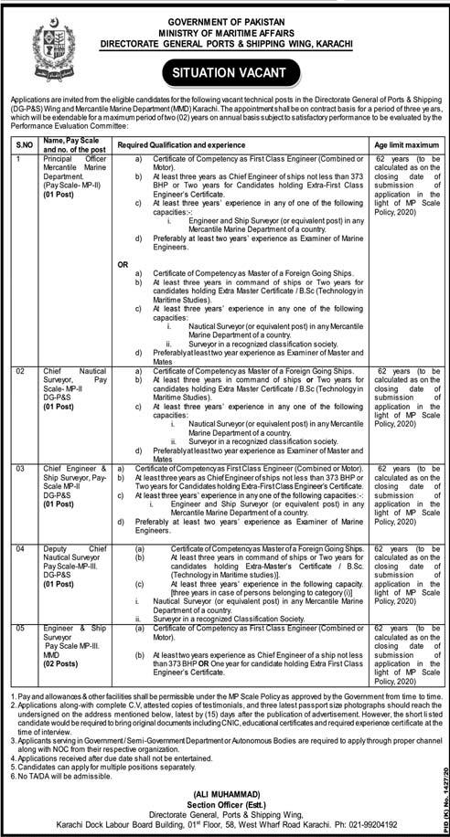 Ministry of Maritime Affairs Karachi Jobs Advertisement 2020
