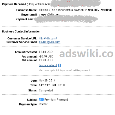 Yllix Payment proof