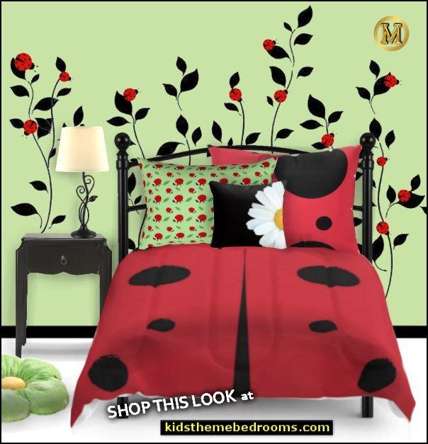 ladybug green  ladybug bedding ladybug bedroom  GARDEN BEDROOMS ladybug garden theme rooms