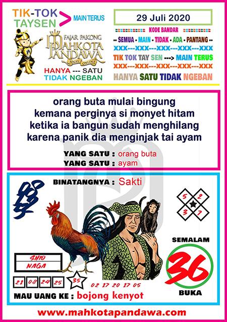 Syair Mahkota Pandawa SGP Rabu 29 Juli 2020