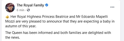 Księżniczka Beatrice spodziewa się pierwszego dziecka!