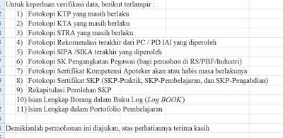 daftar kelengkapan berkas untuk borang sertifikasi apoteker
