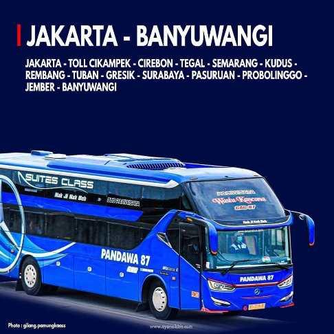 Rute bis Pandawa 87 Jakarta-Banyuwangi