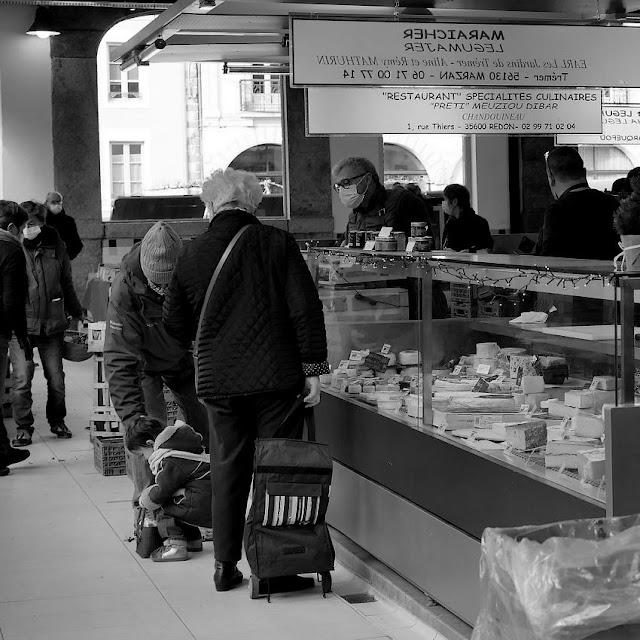 Un marché en février 2021, à  Redon