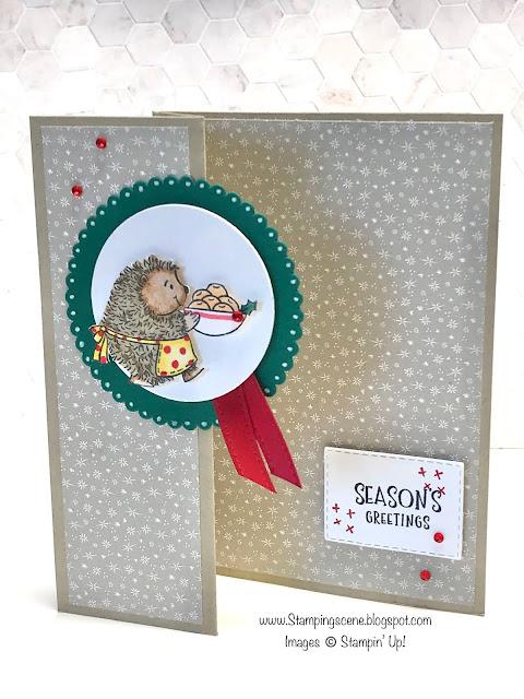 simple fancy fold christmas card using stampin up joyful life stamp set hedgehog