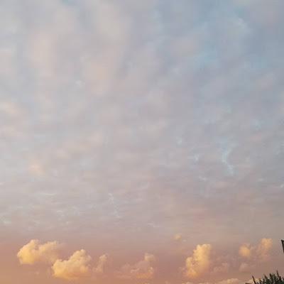 Wolkenblosjes avondrood