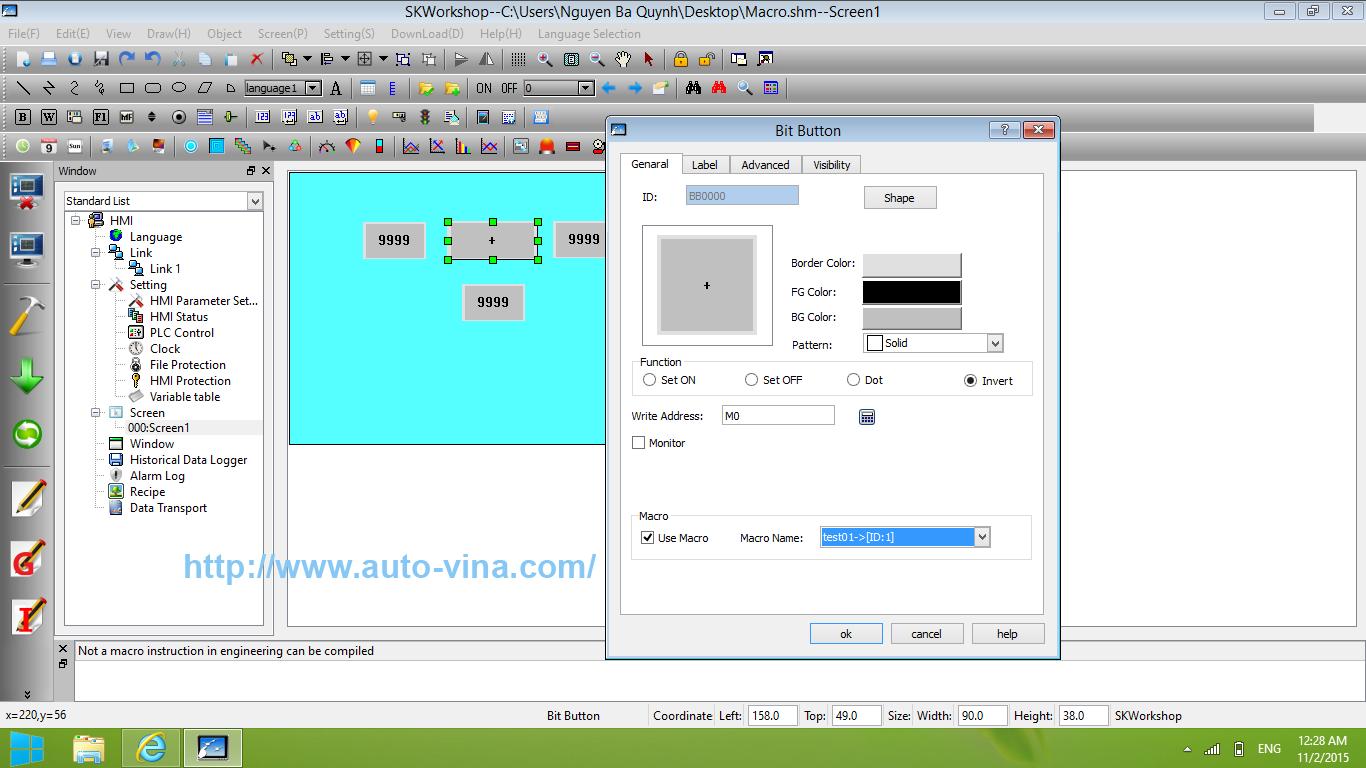Lập trình, vẽ, thiết kế giao diện màn hình HMI Samkoon SK-043AE