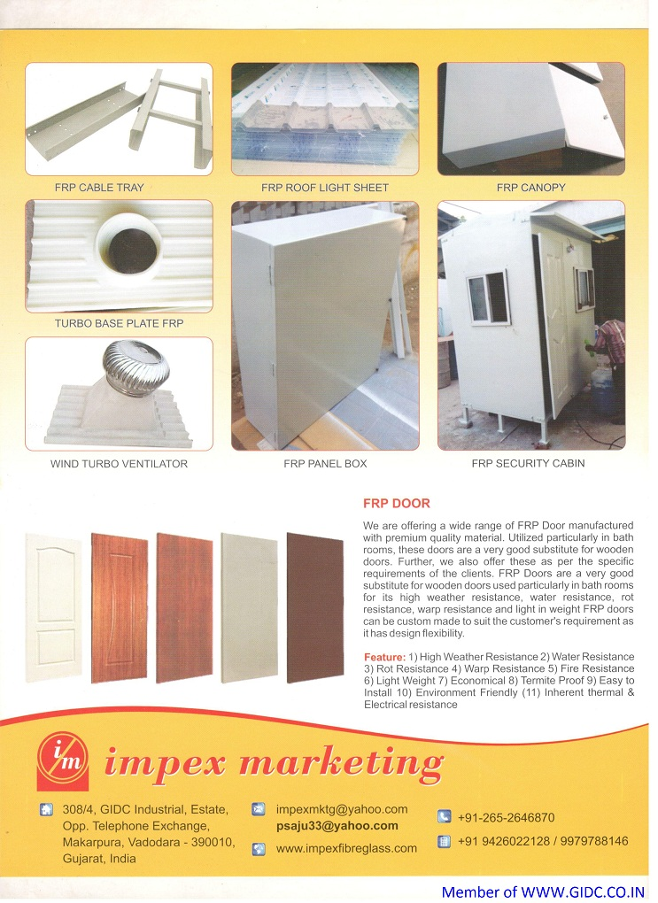 IMPEX MARKETING - 9426022128, 9979788146 MAKARPURA GIDC FRP PRODUCT MANUFACTURER