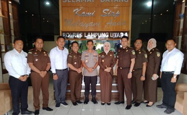 Kapolres Lampung Utara Terima Kunjungan Silaturahmi Pejabat Baru Kajari Kotabumi
