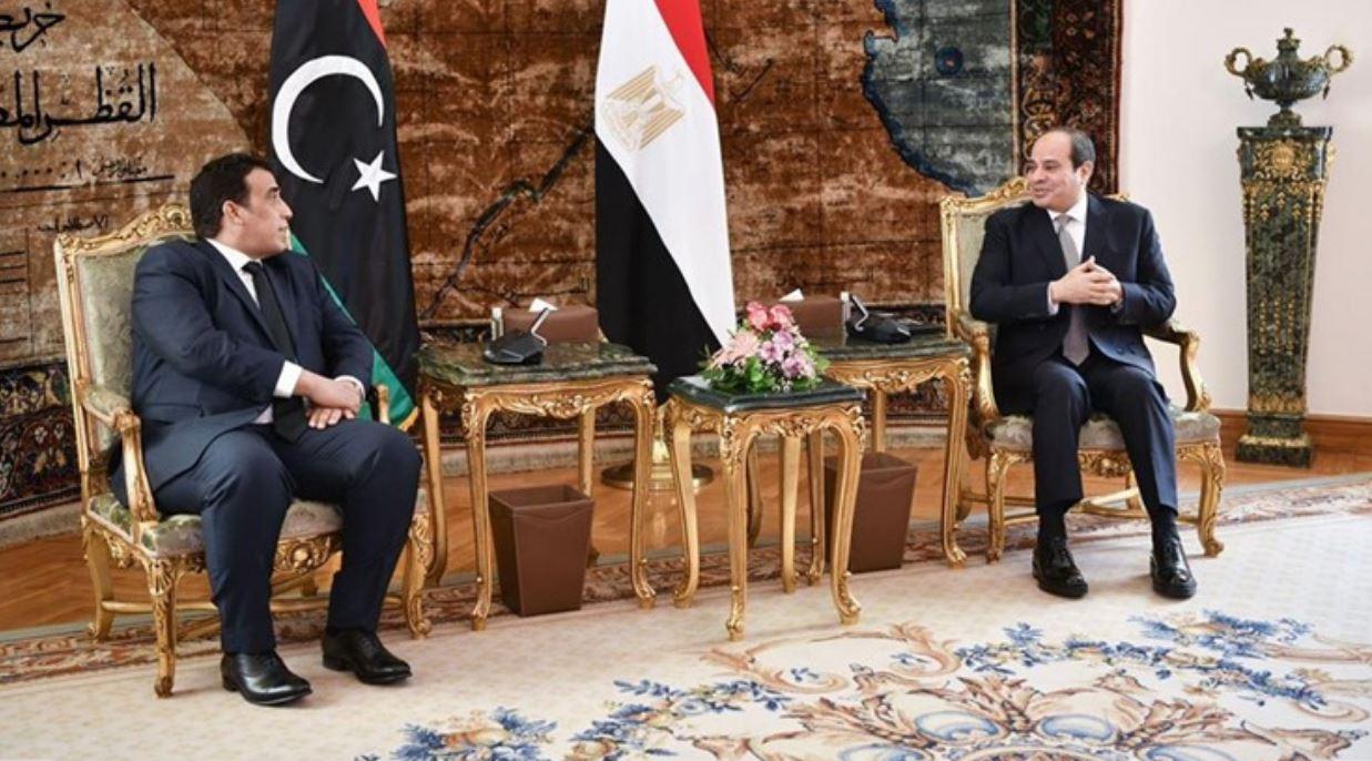 """الرئيس المصري لـ""""محمد المنفي"""": نتطلع إلى اليوم الذي نزور فيه طرابلس"""
