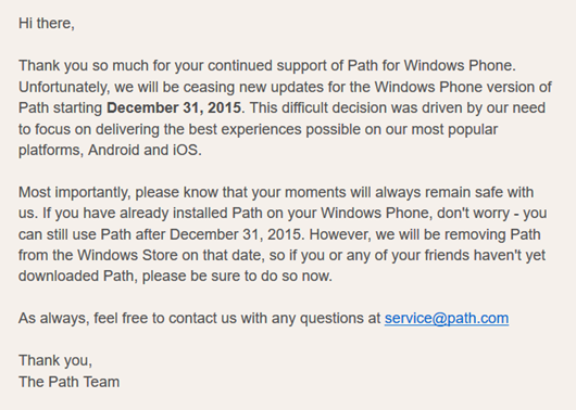 Path Aplication Has Left the Windows Phone OS