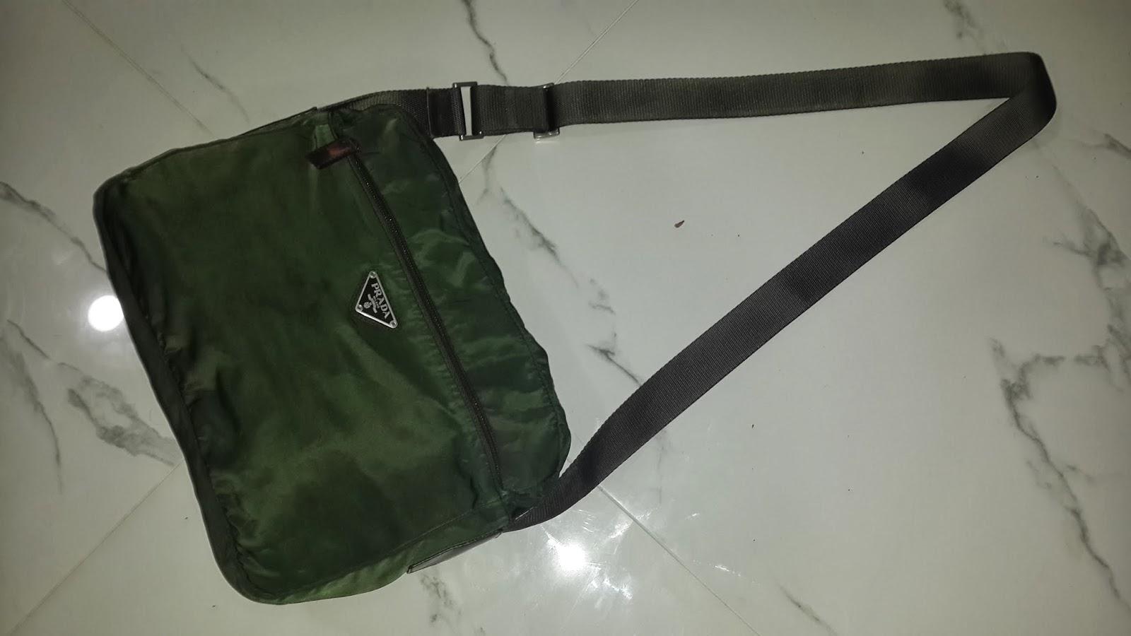 ef3ab8ccfe01 pArT tiMe bUnDLe: Authentic Vintage Prada Green Nylon Messenger/Sling Bag  (SOLD)