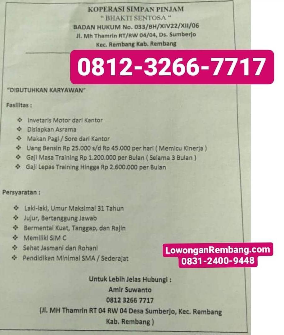 Lowongan Kerja Karyawan Koperasi Simpan Pinjam Bhakti Sentosa Sumberjo Rembang