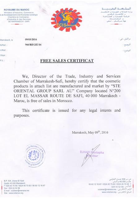 Free sales Certificat