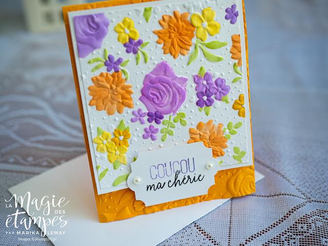 Carte Stampin' Up! faite avec le plioir 3D fleurs champêtres