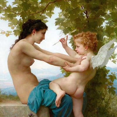 """Il dipinto """"Giovinetta che si difende da Cupido"""" è di William-Adolphe Bouguereau (1880)Il dipinto """"Giovinetta che si difende da Cupido"""" è di William-Adolphe Bouguereau (1880)"""