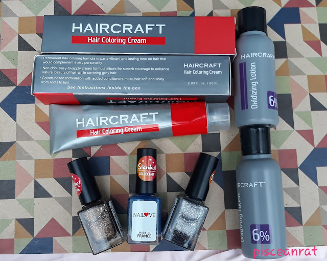 Haircraft Hair Coloring Cream in 6.1, Light Ash Brown, and Oxidizing Lotion 6%; NAILOVE (made in France) Stardust Collection in Glamour, Sparkle and Glisten.