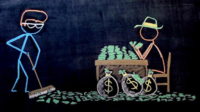 Chalk art rockabilly dude sweeps up pile of money for the man.