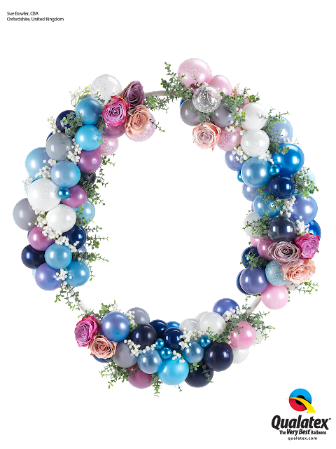 Shades of Blue and Lilac - Elegant Wedding Hoop with balloons and flowers by Sue Bowler, CNA