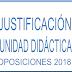 JUSTIFICACIÓN UNIDAD DIDÁCTICA OPOSICIONES SECUNDARIA 2018