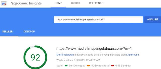 Contoh Hasil Pengecekan Loading Blog di Perangkat Seluler