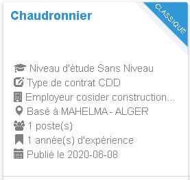Chaudronnier MAHELMA - ALGER