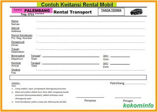 Contoh Kwitansi Tanda Terima Rental Mobil