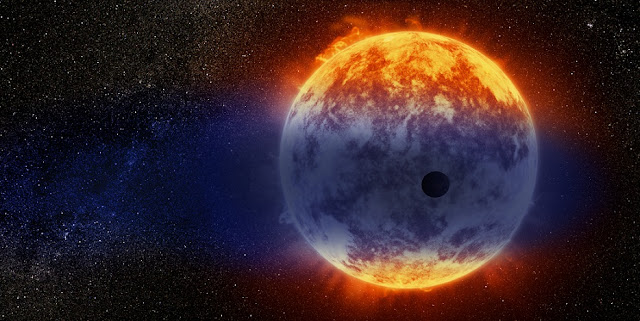 This artist's illustration shows a giant cloud of hydrogen streaming off a warm, Neptune-sized planet just 97 light-years from Earth. The exoplanet is tiny compared to its star, a red dwarf named GJ 3470. The star's intense radiation is heating the hydrogen in the planet's upper atmosphere to a point where it escapes into space. The alien world is  losing hydrogen at a rate 100 times faster than a previously observed warm Neptune whose atmosphere is also evaporating away. Credit: NASA, ESA, and D. Player (STScI)