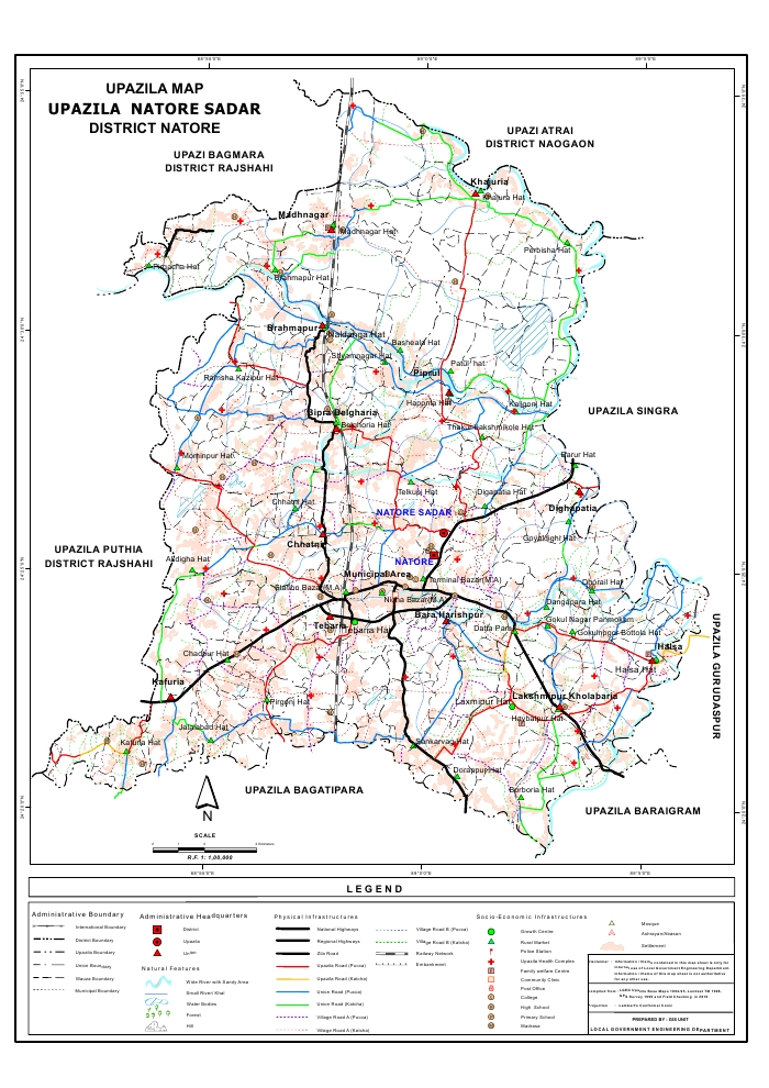 Natore Sadar Upazila Map Natore District Bangladesh