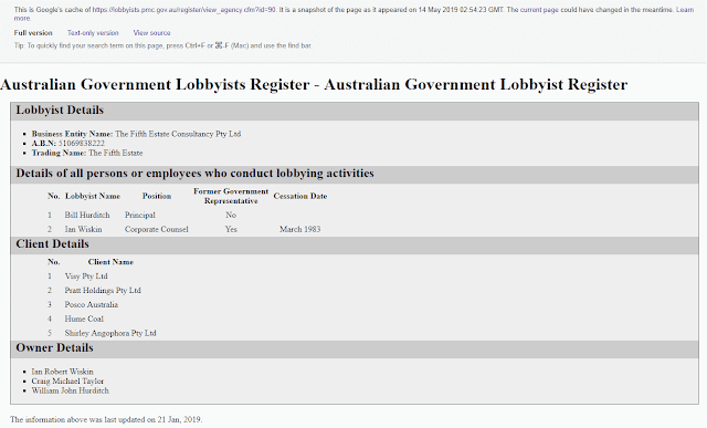 """The cached copy of the Australian Government lobbyist entry for """"The Fifth Estate"""""""