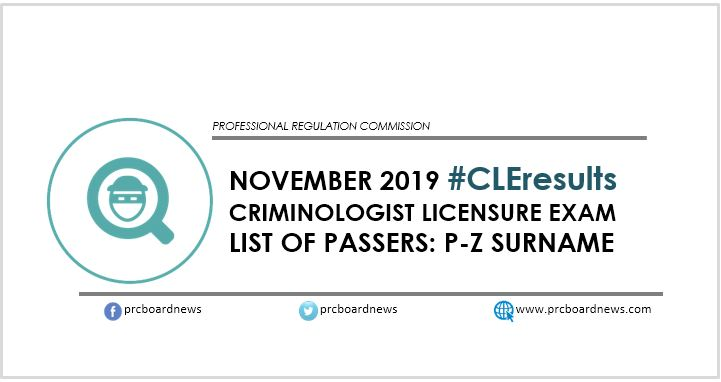 CLE Result: November 2019 Criminology board exam P-Z passers
