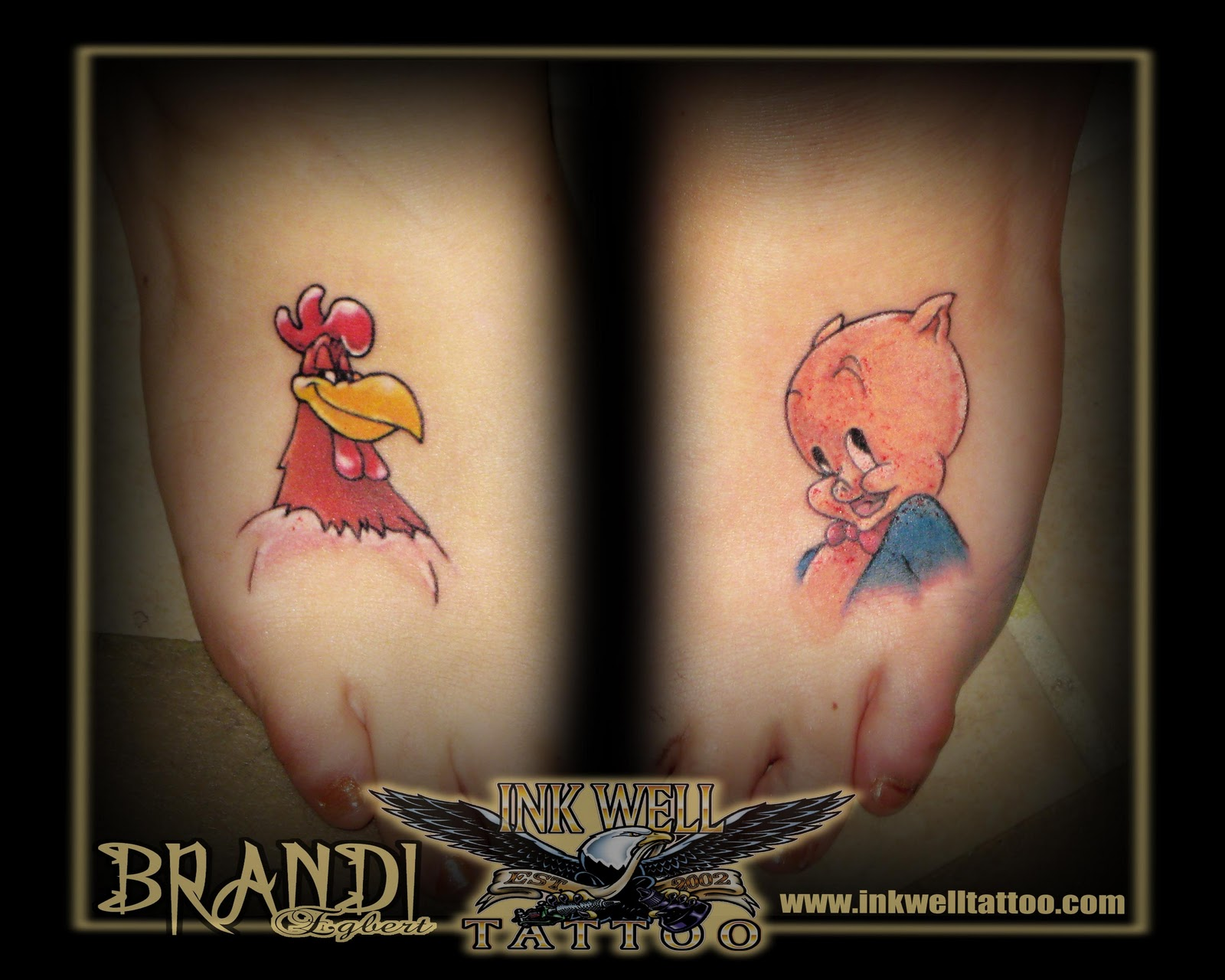 brandi egbert ink well tattoo a rooster and a pig for good luck